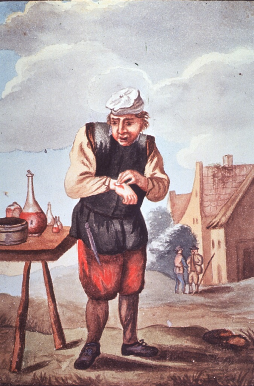 <p>Visual motif:  Watercolor painting of seventeenth century antiseptic practices.</p>