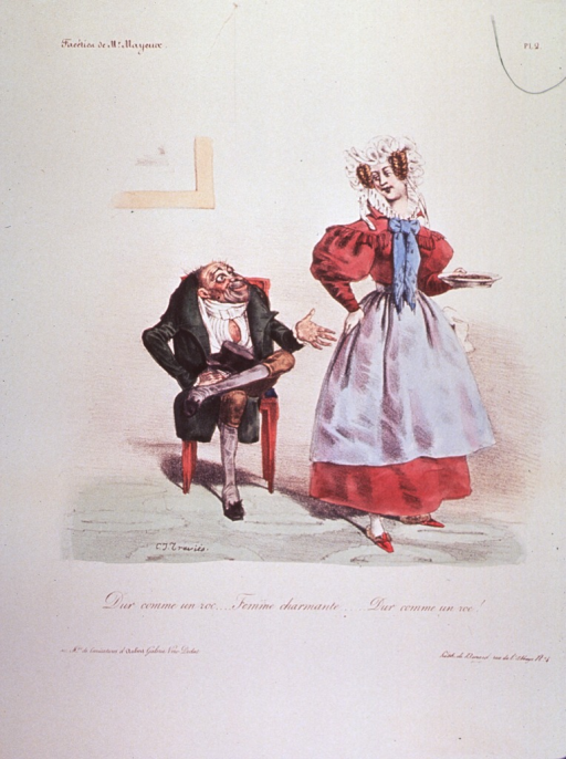 <p>A man sitting on a chair asks a woman passing by for some food.</p>