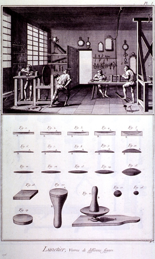<p>Interior view of shop, illustrating the method of manufacture of spectacles.  Also shown are instruments for grinding and polishing lenses.</p>