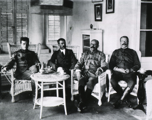 <p>Full length, seated with Col. Foucar, Col. Russell, and Dr. Lippett.</p>