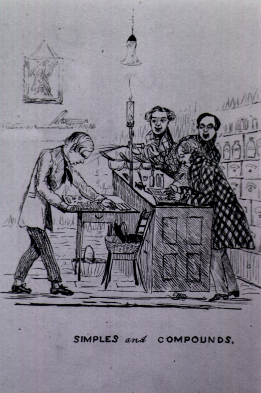 <p>Four pharmacists are shown at work.</p>