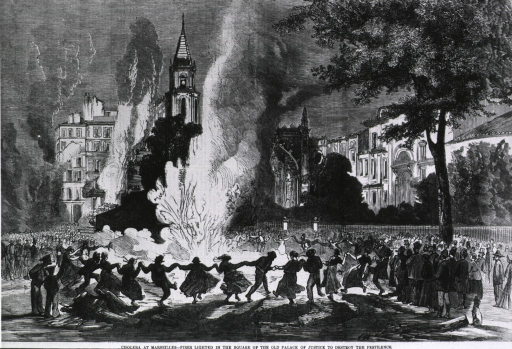 <p>Cholera at Marseilles.  Fires lighted...to destroy the pestilence.  Crowds watch; a large group dance around the fire.</p>