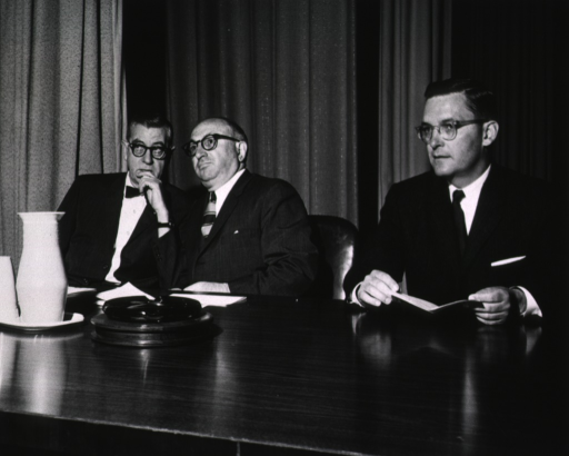 <p>Showing Dr. James A. Shannon, Wilbur J. Cohen, and Dr. Eugene A. Confrey at May 5th rally.</p>