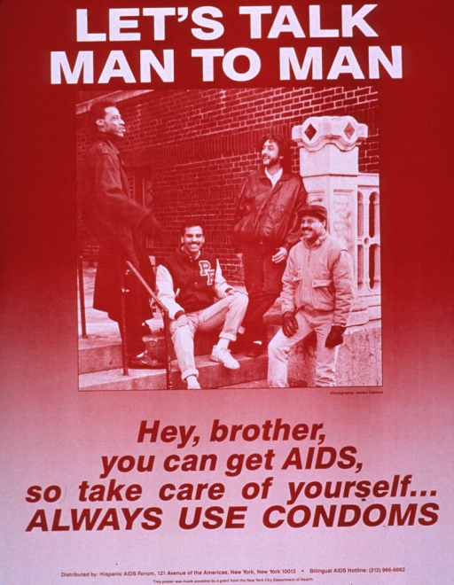 <p>Predominantly red-tone poster with white and red lettering.  Title at top of poster.  Visual image is a photo reproduction featuring a group of men sitting and standing on stairs outside a building.  Publisher and sponsor information at bottom of poster.</p>