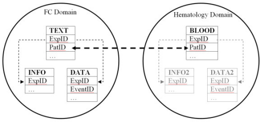 Integration with other biomedical data. The layout of a scenario for integration with data from the Haematology domain. Given that the BLOOD table is designed under the principles of our proposed schema, the two domains are easily integrated through an appropriate unique field (Patient ID)