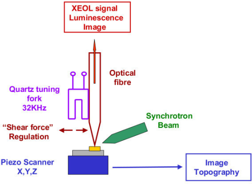 Principle of the home-built instrument. The instrument combines shear-force microscopy and XEOL spectroscopy.