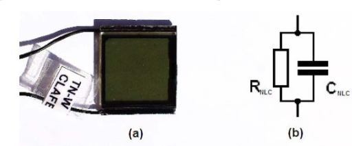 (a) NLC cell used in the T-f converter. (b) Equivalent electric circuit of the NLC cell.
