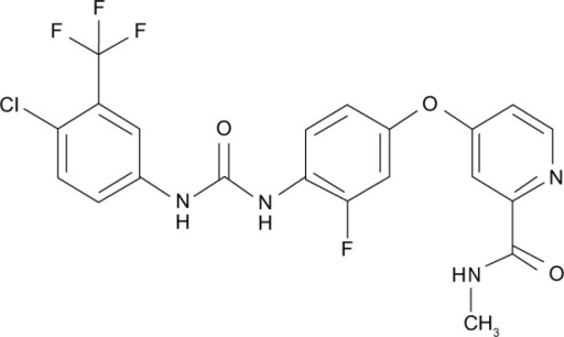 Structure of Regorafenib. 4-(4-[{(4-Chloro-3-[trifluoromethyl]phenyl) carbamoyl}amino]-3-fluorophenoxy)-N-methylpyridine-2-carboxamide.