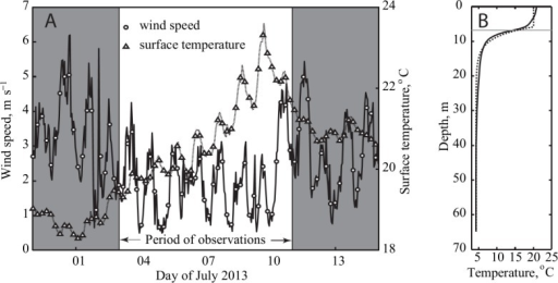 (A) Lake surface temperature and wind speed before, during and after the field experiment. (B) The vertical temperature profile averaged over the observations period. Horizontal dash line marks the bottom of the epilimnion determined from location of the maximum vertical temperature gradient.