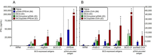 Mycobacteria-specific IFN-γ responses against non plasmid-encoded, but BCG-expressed, antigens after BCG/pDNA co-vaccination. IFN-γ (pg/mL) was measured by ELISA in 72 h culture supernatant of spleen cells cultured with mycobacterial recombinant proteins PstS-3 and Ag85A, BCG culture filtrate (BCG CF) and with recombinant PPE44 (A) or purified ovalbumin (B). Data are presented as the mean ± standard error of the mean and representative of two independent experiments, including six mice per group. *p < 0.05 in comparison with BCG (ID) and BCG/control pDNA (ID) groups.
