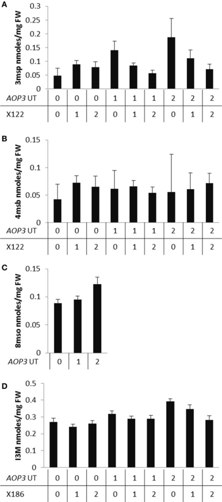 "Allele specific interactions of AOP3 and QTLs controlling different glucosinolates. (A) Average leaf levels of 3msp dependent on the genetic state of the interaction of AOP3 and X122. (B) Levels of 4msb dependent on AOP3 and X122. (C) Accumulation of 8mso depends on the state of AOP3. (D) Levels of I3M controlled by the interaction of AOP3 and X186. ""0"" indicates homozygous for absence of AOP3 or the Col-0 allele, ""1"" heterozygous for AOP3 or the marker, and ""2"" homozygous for presence of AOP3 or the Gie-0 allele."