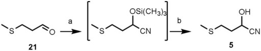 Chemical synthesis of 2-hydroxy-4-(methylthio)butanenitrile (5). Reagents and conditions: (a) Trimethylsilyl cyanide [TMSCN: (CH3)3SiCN], solid lithium perchlorate (LiClO4), room temperature (r.t.), 2 h, quantitative; (b) THF, HCl(3 M), 65°C, 1 h, 84% overall yield.