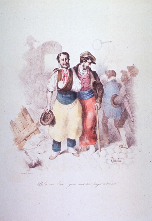 <p>Caricature:  Two men, one with his arm in a cast and sling, the other with a foot in a cast, aided by a cane.</p>