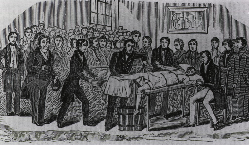 <p>Amputation on a young boy in a crowded room at the Stuyvesant Institute, N.Y.  A vivid scene, accompanying an article decrying too frequent use of amputation.</p>