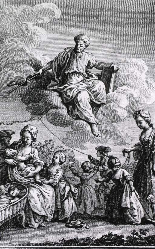 <p>Aesculapius, seated on a cloud and holding a caduceus and book, is observing the care of infants and children below.</p>