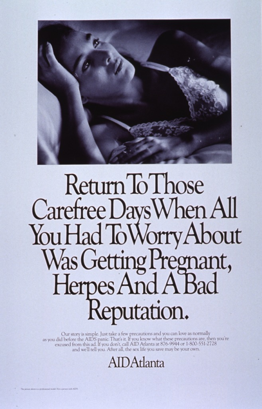 <p>White poster with black lettering.  Visual image in upper portion of poster is a reproduction of a b&amp;w photo.  Photo features a woman lying in bed, staring upward as if lost in thought.  Title below photo.  Caption below title.  Publisher information below caption.</p>
