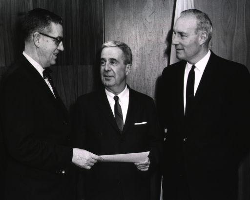 <p>Showing Dr. James A. Shannon, Dr. Walsh McDermott, and the Honorable Harlan Cleveland, Asst. Secretary of State for International Organization Affairs, at the conclusion of the 1st. NIH International Lecture, Dec. 16, 1968.</p>