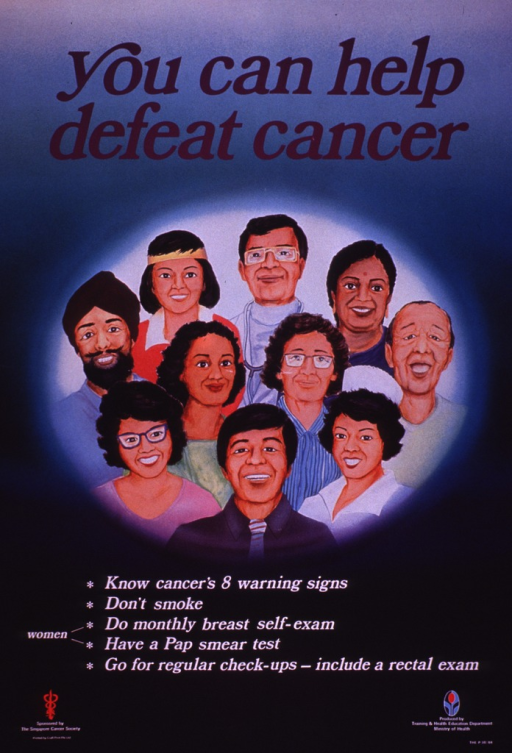 <p>Green and blue poster with purple and white lettering.  Title at top of poster.  Visual image is an illustration of the faces of a diverse group of people.  Caption below illustration.  Sponsor information in lower left corner.  Publisher information in lower right corner.</p>