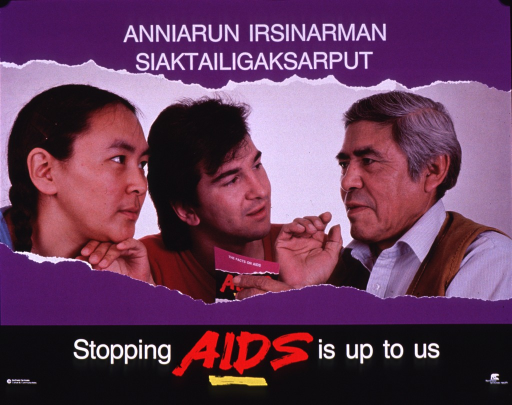 <p>Multicolor poster with white and red lettering.  Title at top of poster.  Visual image is a color photo reproduction featuring an older man speaking to a young man and woman.  One of the men holds a brochure entitled &quot;The facts about AIDS.&quot;  Caption and publisher information at bottom of poster.</p>
