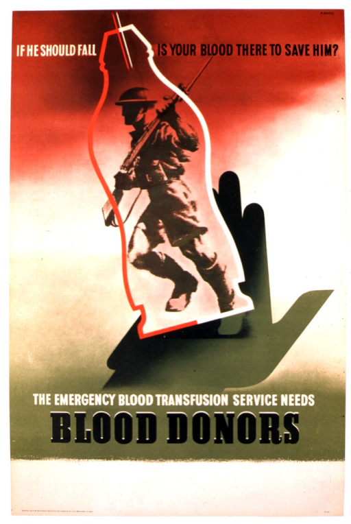 <p>Multicolor poster that fades from red to white to green.  The title and text are set in white and black.  The illustration is of a green open-palmed hand on which the red and white outline of a vial sits precariously.  Inside the vial is a black and white rendering of a soldier in profile marching and carrying a rifle.</p>