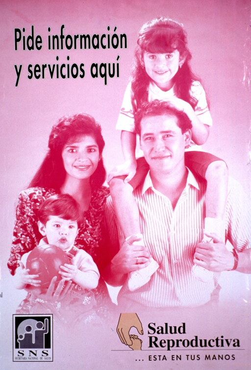 <p>Predominantly pink poster with black lettering.  Title at top of poster.  Visual image is a photo reproduction featuring a four-member family.  Publisher information in lower left corner.  Note in lower right corner indicates that reproductive health is &quot;in your hands.&quot;</p>