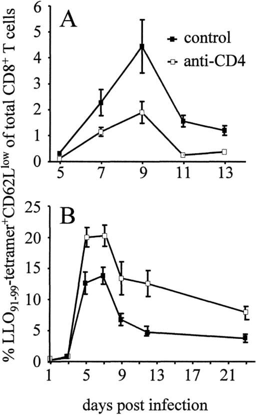 LLO91–99–specific CD8+ T cell response during primary and secondary infection with L. monocytogenes (A) Primary infection: mice infected with L. monocytogenes were left untreated (control) or received anti-CD4 mAb (anti-CD4). (B) Secondary infection: mice were infected and after 60 d challenged with L. monocytogenes. During challenge infection, mice were left untreated or received anti-CD4 mAb. At the indicated days, spleen cells were stained with Cy5-conjugated anti-CD8α mAb, FITC-conjugated anti-CD62L mAb, and PE-labeled LLO91–99-tetramers, and analyzed by flow cytometry after the addition of propidium iodide. Figures show percent values of live CD62Llowtetramer+ cells of total CD8+ cells. Data represent mean ± SD of three mice per group and time point. Experiments in A and B are representative of two or three experiments, respectively.