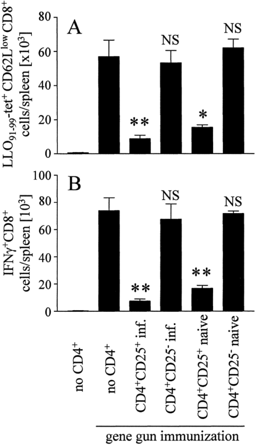 Inhibition of memory CD8+ T cell responses by CD4+CD25+ cells in a transfer model SCID mice received CD4-depleted cells from mice previously immunized by DNA vaccination. Groups of mice received in addition purified CD4+CD25− and CD4+CD25+ cells from either naive or L. monocytogenes–infected mice. Immediately after cell transfer, mice were DNA immunized with pChly. On day 7, spleen cells were analyzed with LLO91–99-tetramers (A) and for IFN-γ production after incubation with LLO91–99 (B), as described in Fig. 3. Without peptide stimulation we observed <1,500 IFN-γ+CD8+ T cells/spleen in all samples analyzed (data not depicted). The experiment shown represents mean ± SD of three individually analyzed mice per group and is representative for three independent experiments. Differences to gene gun treated mice that received only CD4+ T cell–depleted cells: *P < 0.05; **P < 0.01; NS, P > 0.05.
