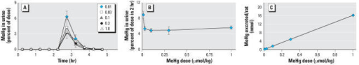Effect of a standard dose of NAC (1 mmol/kg) on urinary excretion of [14C]MeHg. (A) Effect of NAC after treatment with various doses of [14C]MeHg (μmol/kg) over time. (B) Amount of [14C]MeHg excreted in urine 2 hr after NAC injection plotted against [14C]MeHg doses. (C) Actual amount of [14C]MeHg excreted in urine versus the amount injected; y = 16.133x + 0.0281; R2 = 0.9998. Values are mean ± SD; n = 4–5 rats in each group.