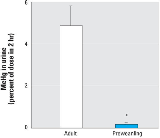 Effects of NAC on urinary MeHg excretion in preweanling and adult rats treated with 0.1 μmol/kg [14C]MeHg 1 hr before treatment with 1 mmol/kg NAC. Values shown are amounts of [14C]MeHg excreted in urine 2 hr after NAC injection (mean ± SD); n = 4–5 rats per group.*Significantly different from adult animals (p < 0.05).