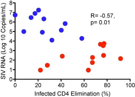 Infected CD4 Elimination (ICE) inversely correlates with plasma SIV RNA levels in SIV-infected rhesus macaques.Red dots represent LTNP/EC (n = 11). Blue dots represent progressors (n = 11). Statistical analysis was performed by the Spearman rank method.