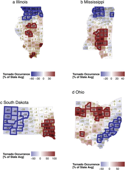 Correlated random effects from the state tornado models.