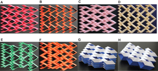 Sample patterns of BCHn and cellular folded metamaterials.(A) A BCH2 sheet. (B) A BCH3 sheet-adding one layer of small parallelograms to the first row reduces the DOF of the system to 1 for rigid origami behavior. (C) Combination of BCH2 and layers of large and small parallelograms with the same geometries as the ones used in BCH2. (D) Combination of BCH3 and layers of large and small parallelograms with the same geometries as the ones used in BCH3. (E) A BCH3 sheet and layers of small parallelograms with the same geometries as the ones used in BCH3. (F) A sheet composed of various BCHn and Miura-ori cells with the same angle ϕ. (G) A stacked cellular metamaterial made from seven layers of folded sheets of BCH2 with two different geometries. (H) Cellular metamaterial made from two layers of 3 × 3 sheets of BCH2 of different heights tailored for stacking and bonded along the joining fold lines. The resulting configuration is flat-foldable in one direction.
