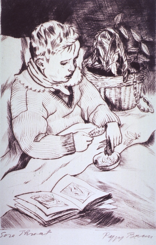 <p>A child is sitting up in bed, he has a small dish nestled between his legs; a plant is to the right and an open book rests on the bed.</p>