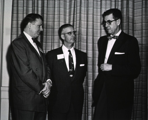 <p>Dr. James A. Shannon meets with Dr. Floyd S. Daft, Director NIAMD, and Dr. L. Maxwell Lockie, President, American Rheumatism Association during the Fourth Interim Scientific Session, at the Clinical Center, Dec. 6, 1957.</p>