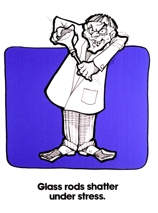 <p>A mad scientist-like man with a bowl haircut and a lab coat is forcing a glass rod into a flask.</p>