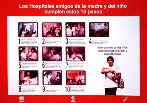 <p>Red and white poster with multicolor lettering.  Title at top of poster.  Visual images are color photo reproductions.  Most show health workers learning about breastfeeding and assisting new mothers as they learn to breastfeed; one larger photo shows a new mother standing and holding her infant.  Note near larger photo.  Text accompanying smaller photos describes hospital practices that support breastfeeding, including written policies, education, and allowing the mother and baby to be together.  Publisher and sponsor information at bottom of poster.</p>