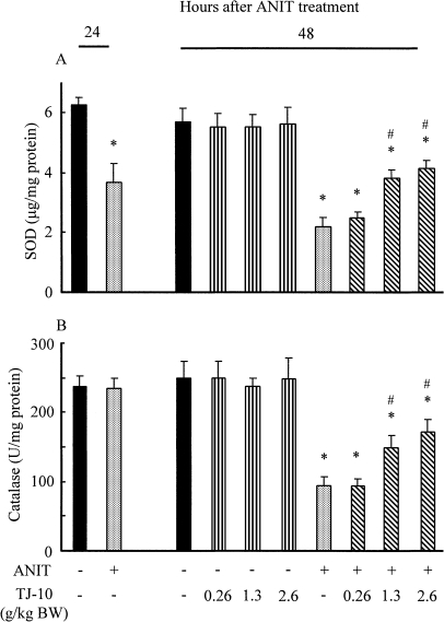Effect of orally post-administered TJ-10 on hepatic SOD (A) and catalase (B) activities in rats treated with and without ANIT. Experimental condition and explanation are the same as described in the legend for Fig. 2 except that hepatic SOD and catalse were assayed as described in Materials and Methods.