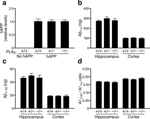 Reduction or removal of GIVA-PLA2 did not affect hAPP or Aβ levels in hAPP mice. a, Hippocampal hAPP protein levels (relative to GADPH) in hAPP mice with different levels of GIVA-PLA2 expression (n=6 per group; age, 4−6 months) were determined by western blotting and densitometric analysis of signals. b–d, Hippocampal and cortical levels of Aβ1-x (b) and Aβ1−42 (c) and Aβ1−42/Aβ1-x ratios (d) in 4−6-month-old hAPP mice with different levels of GIVA-PLA2 expression (n=6−10 per group; age, 4−6 months) were determined by ELISA and expressed as ng per g of tissue.