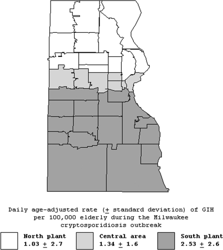 Age-adjusted daily rates of gastroenteritis-related emergency room visits and hospitalizations per 100,000 elderly persons during the cryptosporidiosis outbreak (March 28, 1993–April 24, 1993) in three drinking water service areas (north, central, and south), Milwaukee, Wisconsin.