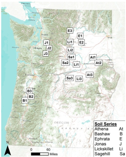 Sites across Washington and Oregon highlighting the approximate locations of where soils were obtained for this study.