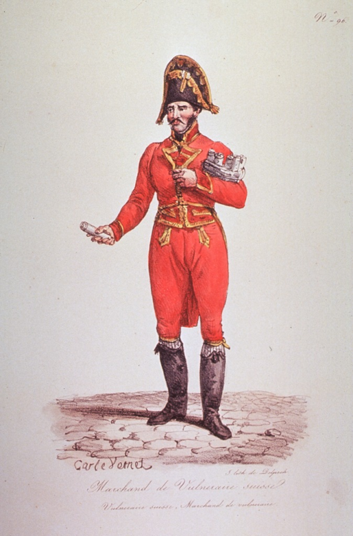 <p>Caricature of a merchant of water cures; shows man standing, full length, wearing a uniform and hat; holding a small box in one hand and a vial in the other.</p>