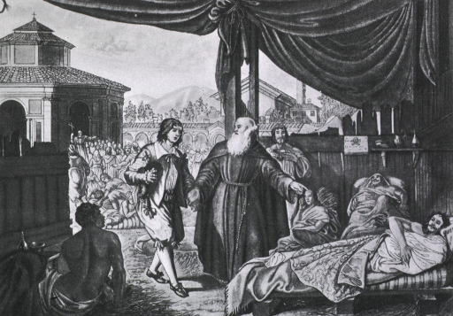 <p>The Lazzaretto, in 19th century. Built by the hospital. Scene during plague.</p>