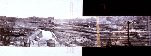 <p>Panoramic view of the destruction in the Urakami Valley.  The camera was located near the Shiroyama school, and the angle of view is 260 degrees, looking from the west.</p>