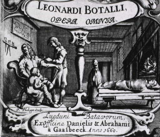 <p>Two vignettes.  Left: bloodletting scene with surgeon and attendant.  Right: a morgue scene with corpse.</p>