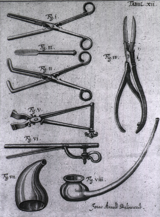 <p>Several different types of forceps including the &quot;deceitful&quot; forceps (fig. 6) used in facial surgery.</p>