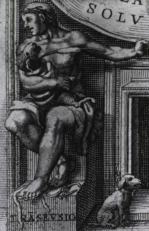 <p>Close-up of a man seated, holding a sheep on his lap; his left arm is extended to the right and there is a tube connecting his arm (just above the elbow) to the neck of the sheep; a small dog is chained to a fireplace in the lower right corner.</p>