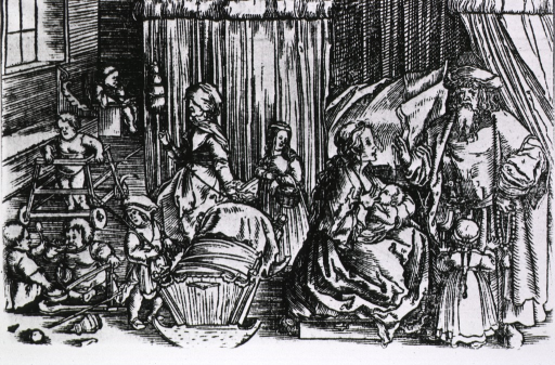 <p>Interior view of a room with several children playing; a woman is nursing an infant, and another woman is rocking a cradle; a man is standing to the right.</p>