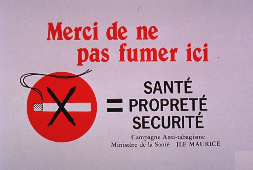 <p>Predominantly white poster with red and black lettering.  Title at top of poster.  Visual image is an illustration of a burning cigarette that is crossed out with an &quot;x&quot;.  This no-smoking symbol is followed by an equal sign and the note text.  Note text addresses health, cleanliness, and safety.  Publisher information below note.</p>