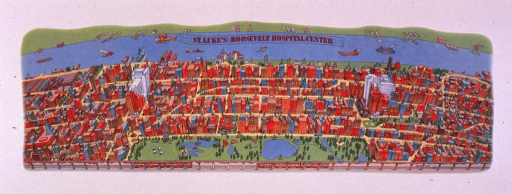 <p>Multicolor poster with red and black lettering.  Title near top of poster, appearing in the image as a banner trailing from an airplane.  Visual image is an illustration depicting an aerial view of the neighborhood around the two hospitals.  The hospital buildings are disproportionately tall.  Sponsor information in lower right corner.</p>