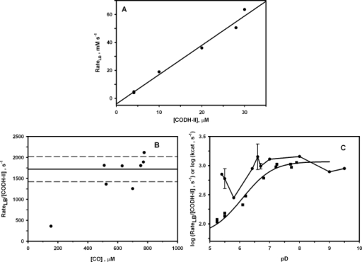 (A) Dependence of the broadening exchange rate (rateLB) on the CODH-II monomer concentration. Other conditions are 0.5−0.7 atm of 13CO, 50 mM NaH13CO3, and 0.1 M MES (pD 6.8). The T1-corrected integrations of the 13CO peak were used to calculate the 13CO concentrations. The slope of the linear regression is 2000 ± 200 s−1. (B) Dependence of rateLB after normalization for CODH-II concentration on the CO concentration. The line at 1700 s−1 represents the average of all the measurements shown, while the dashed lines indicate the standard error (300 s−1). (C) Effect of pD on the exchange broadening for the CO resonance (●) and pH dependence of kcat for CO oxidation (◼). The steady-state measurements were carried out at 20 °C, in 20 mM methyl viologen, 1 atm of CO, and 0.1 M MES buffer.